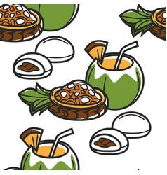 hawaii food and drink seamless pattern fruit salad vector image