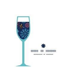 Holiday fireworks wine glass silhouette pattern vector