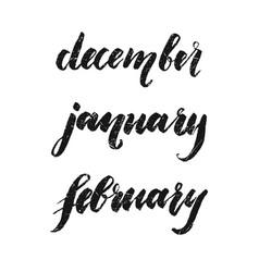 inscriptions winter december january february vector image