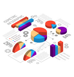 Isometric circlular graph infographics vector
