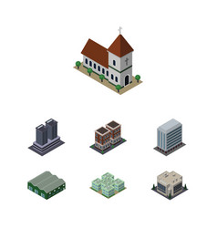 isometric construction set of tower clinic house vector image