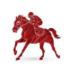 Jockey riding horse hose racing vector