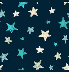 Kids pattern with doodle textured stars vector
