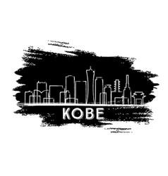 kobe skyline silhouette hand drawn sketch vector image vector image