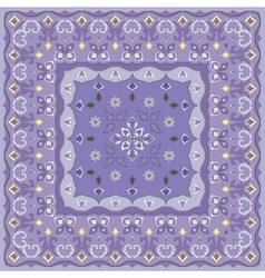 Lilac handkerchief with delicate blue ornaments vector