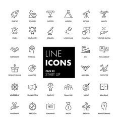 Line icons set start up vector