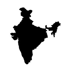 Map india isolated black on vector