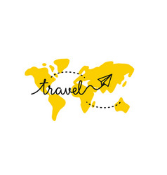 map with continents and airplane travel theme vector image