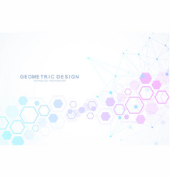 molecule structure with particles hexagonal vector image