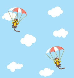 Monkeys with parachutes vector image