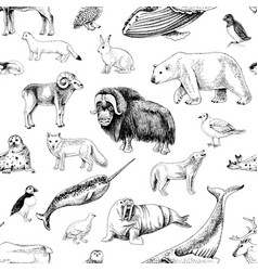 Monochrome seamless pattern with arctic animals vector