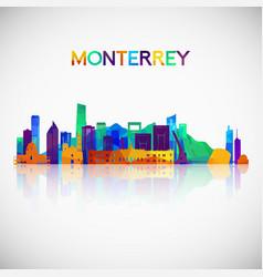 Monterrey skyline silhouette in colorful vector