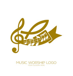 Notes a treble clef and a fish a symbol of jesus vector