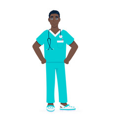 Nurse or surgeon doctor standing with stethoscope vector