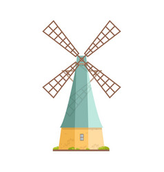 old windmill isolated on white background dutch vector image