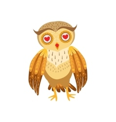 Owl In Love Cute Cartoon Character Emoji With vector