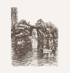park pond view sketch vector image