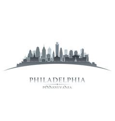 philadelphia pennsylvania city silhouette white vector image