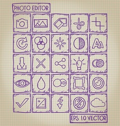 Photo Editor Icon Doodle Set vector