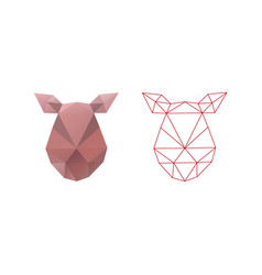 pig head triangle polygon design abstract shape vector image