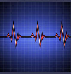 Pulse cardiogram on the monitor in the cell vector