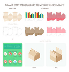 Pyramid style carry cardboard gift box with vector