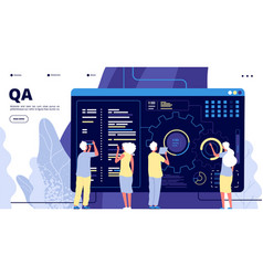Qa landing page testing quality assurance in vector