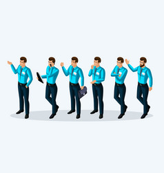 quality isometry 3d men corporate lifestyle vector image