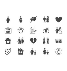 relationship status glyph flat icons vector image