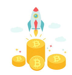rocket flying above piles bitcoins vector image