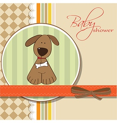 Romantic baby shower card with dog vector