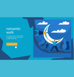 romantic walk concept vector image