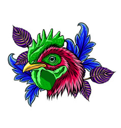 rooster head realistic art vector image