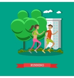 Running couple in a park Sport fitness concept vector