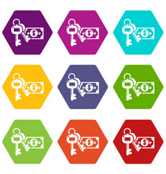 safe money icons set 9 vector image