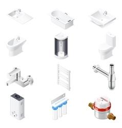 Sanitaru engineering detailed isometric icon set vector image vector image