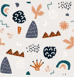 Seamless abstract geometric pattern with hand vector