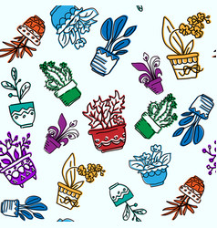 seamless pattern of hand drawn houseplants vector image