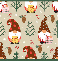 seamless pattern with christmas gnomes vector image