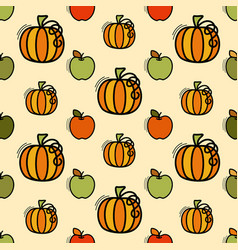 seamless pattern with pumpkin and apples vector image
