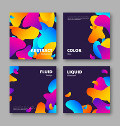 set cards with abstract liquid elements vector image