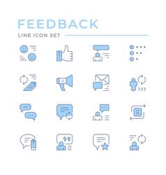 Set color line icons feedback vector