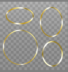 set gold circle picture frame on black sixteen vector image