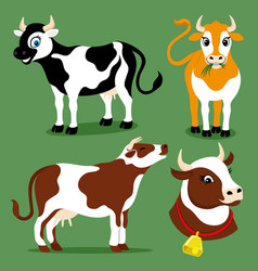 Set of cute cows vector