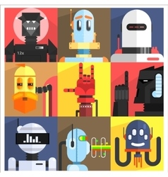 Set Of Different Cartoon Robots vector
