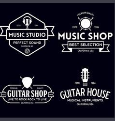 set vintage logo badge emblem for music shop vector image