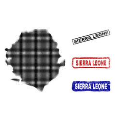 Sierra leone map in halftone dot style with grunge vector