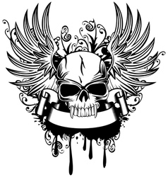 Skull with wings 1 vector