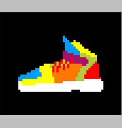Sneakers pixel art sports shoes 8 bit vector