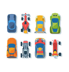 sportive bolides top view flat set vector image